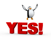 3d cute penguin happy jump over word yes. 3d illustration of cue happy penguin jumping on word yes Stock Images