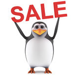 3d Cute penguin holds a Sale. 3d render of a penguin holding up the word Sale Royalty Free Stock Images