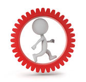 3d cute people - running in gear Royalty Free Stock Images