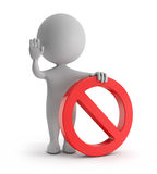 3d cute people - standing with red no sign (forbidden) symbol. White backgorund with clipping path Stock Photo