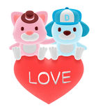 3d cute pink cat and blue bog sitting on red heart Stock Photo