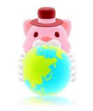 3d cute pink cat holding blue globe Royalty Free Stock Image