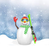 3d cute snowman with skis Stock Image