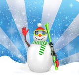 3d cute snowman with skis Royalty Free Stock Image