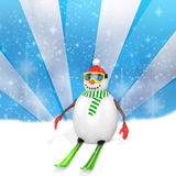 3d cute snowman with skis Stock Photo