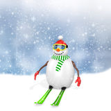 3d cute snowman with skis Stock Images