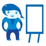 2d cute standing girl near a blank board. An abstract illustration of a cute standing girl near a blank board Royalty Free Stock Photo