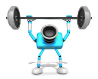 3D Cyan Camera character a Barbell Shoulders Press Exercise. Cre Royalty Free Stock Photo