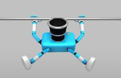 3D Cyan Camera character is doing a vigorous pullup. Create 3D C Royalty Free Stock Images