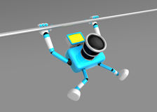 3D Cyan Camera character is doing a vigorous pullup.  Stock Image
