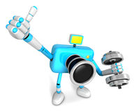 3D cyan Camera character a one Dumbbell curl Exercise. Create 3D Royalty Free Stock Photography