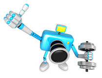 3D cyan Camera character a one Dumbbell curl Exercise. Create 3D Stock Photography