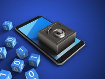 3d cyan. 3d illustration of mobile phone over blue background with binary cubes and steel safe Stock Photo