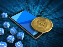 3d cyan. 3d illustration of mobile phone over digital background with binary cubes and bitcoin Royalty Free Stock Images