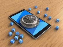 3d cyan. 3d illustration of mobile phone over wooden background with binary cubes and vault door Stock Illustration