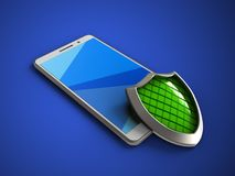 3d cyan. 3d illustration of white phone over blue background with shield Royalty Free Stock Photography
