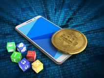 3d cyan. 3d illustration of white phone over digital background with cubes and bitcoin Stock Photography