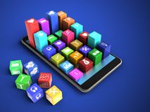 3d cyan. 3d illustration of mobile phone over blue background with cubes and colorful icons Stock Photo