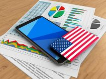 3d cyan. 3d illustration of mobile phone over wooden background with business papers and USA flag Stock Images