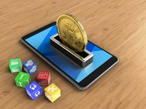 3d cyan. 3d illustration of mobile phone over wooden background with cubes and bitcoin Royalty Free Stock Image