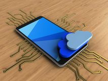 3d cyan. 3d illustration of mobile phone over wooden background with electronic circuit and clouds Stock Images