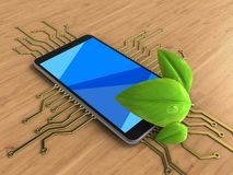 3d cyan. 3d illustration of mobile phone over wooden background with electronic circuit and leaf Stock Photo