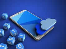 3d cyan. 3d illustration of white phone over blue background with binary cubes and clouds Royalty Free Stock Image