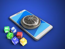 3d cyan. 3d illustration of white phone over blue background with cubes and vault door Royalty Free Illustration