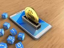 3d cyan. 3d illustration of white phone over wooden background with binary cubes and coin Royalty Free Illustration