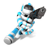 3D Cyan Robot fire an aimed shot a automatic pistol. Create 3D H Stock Image