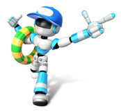 3d Cyan robot Rescue operations are on summer vacation. Create 3 Stock Photo