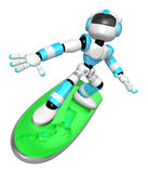 3D Cyan robot is riding a surf board to the left. Create 3D Huma Stock Image