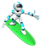 3D Cyan robot is riding a surf board to the Right. Create 3D Hum Stock Photos