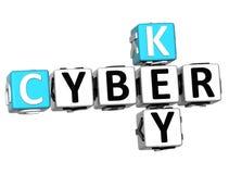 3D Cyber klucza Crossword Obrazy Stock