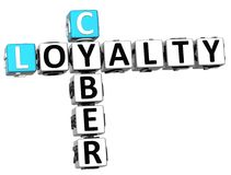 3D Cyber-Loyaliteitskruiswoordraadsel Stock Foto's