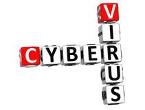 3D Cyber-Viruskruiswoordraadsel Stock Foto's