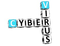 3D Cyber-Viruskruiswoordraadsel Stock Foto