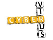 3D Cyber-Viruskruiswoordraadsel Stock Fotografie