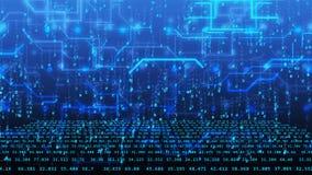 3D cyberspace met blauwe cijfers en hi-tech lijnen Royalty-vrije Stock Afbeeldingen