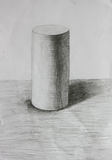 3D cylinder pencil sketch Royalty Free Stock Photos