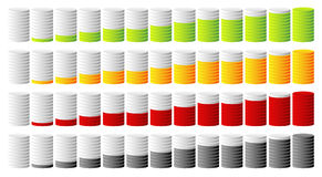 3d cylindrical progress, step indicators in more colors Stock Photos