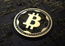 3d Czarna i Złocista ilustracyjna Bitcoin Crypto waluta Fotografia Stock