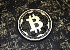 3d Czarna i Złocista ilustracyjna Bitcoin waluta Fotografia Stock