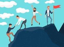 3d czarny pojęcia ilustraci odosobniona praca zespołowa Ludzie biznesu w górach Lider na wierzchołku Wektorowa ilustracja w kresk royalty ilustracja