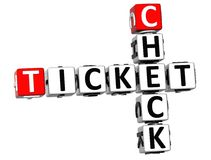 3D czeka bileta Crossword Zdjęcie Royalty Free
