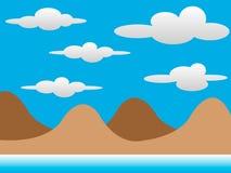 2D Czekoladowi wzgórza z chmurami Obraz Royalty Free