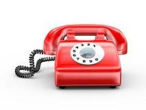 3d czerwieni obrotowy stary telefon Zdjęcia Royalty Free