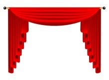 3d czerwona luksusowa jedwabnicza zasłona, realistyczny wewnętrznej dekoraci aksamit Zdjęcie Stock