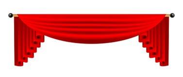 3d czerwona luksusowa jedwabnicza zasłona, realistyczny wewnętrznej dekoraci aksamit Zdjęcia Stock