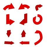 3d czerwona strzałkowata ikona w modnym mieszkanie stylu odizolowywającym na bielu Fotografia Royalty Free